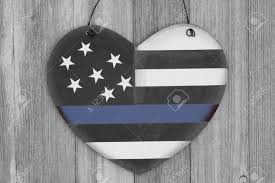 Thin Blue Line Flag Retro Usa Thin Blue Line Flag On A Heart Shape Wood Sign On