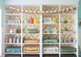 Storage Ideas For Craft Room - herringbone bookcase craft room makeover