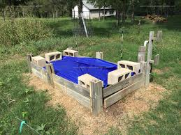 raised bed garden and rainwater collection and garden drip