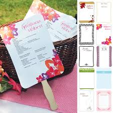 wedding program fan kits wedding decorations and table decor circle fan program kit
