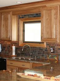 oak cabinet granite countertop with rustic slate mosaic kitchen