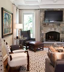 fireplace chair family room traditional with side table coffered