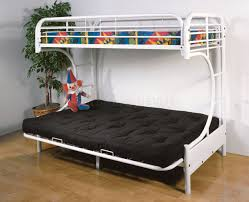 bedroom bunk beds with couch underneath and bunk bed with futon