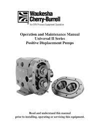 waukesha universal ii positive displacement pumps manual valve