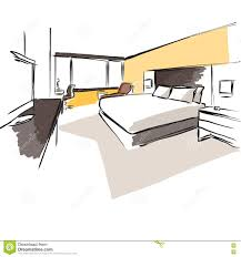 interior hotel room concept sketch layout stock vector image