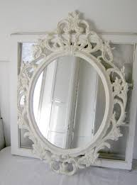 shabby chic baroque oval mirror antique white ornate mirror