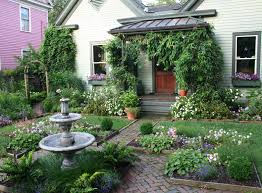 Cottage Gardening Ideas Impeccable Front Yard With Green Grass And Concrete