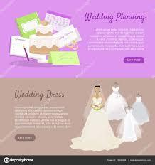 wedding preparation for wedding planning and wedding dress web banner stock vector
