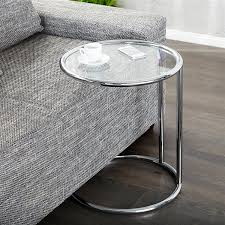 beistelltisch designer design beistelltisch galano rund ø 40 cm glastisch silber