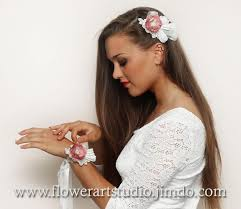 hair corsage custom color mauve and ivory lace wedding flower wrist corsage