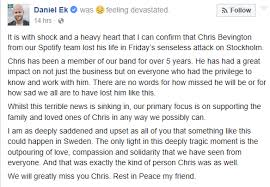 spotify black friday spotify executive chris bevington dies in stockholm attack
