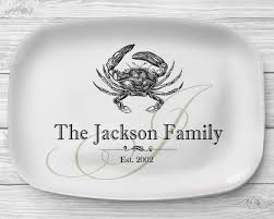 personalized serving plate melamine crab platter personalized seafood serving platter