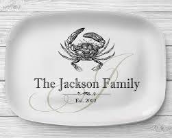 monogrammed platters melamine crab platter personalized seafood serving platter