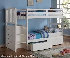 Bunk Bed With Stairs And Drawers Donco Arch Stair Stepper Bunk Bed White Bedroom Furniture Stair
