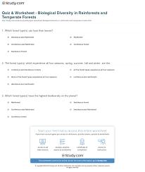 quiz u0026 worksheet biological diversity in rainforests and