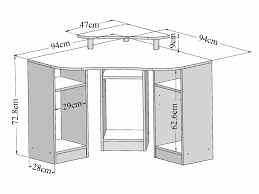 plan bureau d angle bureau informatique d angle en bois longueur 94cm hades