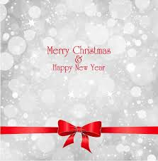 lights on grey background with red ribbon christmas vector