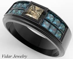 mens princess cut diamonds wedding ring vidar jewelry unique s black gold fancy brown wedding band vidar jewelry