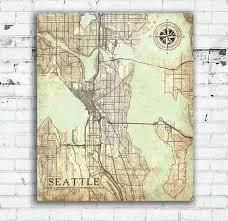 seattle map wall seattle wa canvas print washington vintage map seattle city map