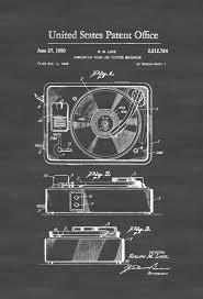 Home Theatre Decor Record Player Patent 1950 Patent Print Wall Decor Record