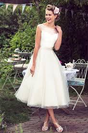 illusion cap sleeves lace tulle tea length rustic a line wedding