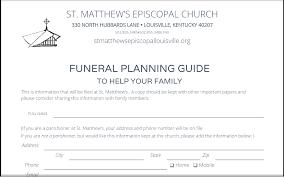funeral planning guide funeral planning guide st matthew s