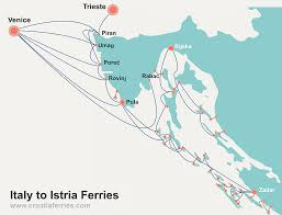 Map Venice Italy by Italy To Istria Croatia Ferry Map Croatia Ferries