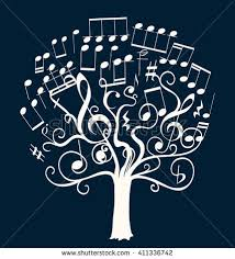 royalty free a black tree composed by black musical 150334943