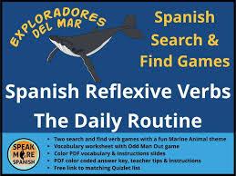 juego de presente de verbos reflexivos games and vocabulary for