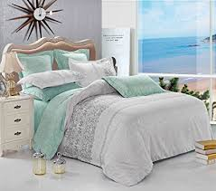 Turquoise Bed Frame Gray Duvet Cover Set Reversible With Grey Teal