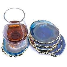 agate coasters jic gem golden plated dyed blue agate coasters 6 pcs