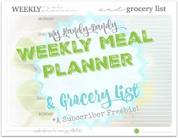 Menu Planner With Grocery List Template Weekly Meal Planner Grocery List Kristi Clover