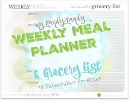 weekly meal planner u0026 grocery list kristi clover