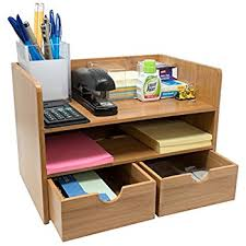 Desk Organizer Shelf Met 3 Compartment Wood Plastic Composite Desk