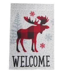 Welcome Flag Maker U0027s Holiday Christmas 12 U0027 U0027x18 U0027 U0027 Flag Plaid Moose U0026 Welcome Joann