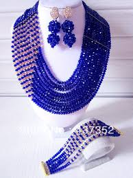 fashion beads necklace images Fashion royal blue multistrand nigerian wedding african beads jpg