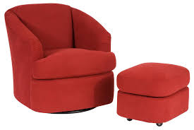 Club Swivel Chairs by Contemporary Swivel Barrel Chair And Ottoman With Casters By Smith
