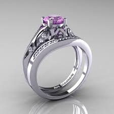 Amethyst Wedding Rings by Classic Armenian 14k White Gold 1 0 Ct Lilac Amethyst Diamond