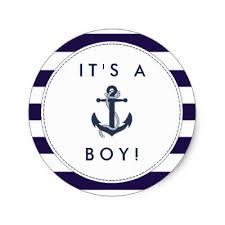 anchor baby shower it s a boy anchor banner stripes baby sticker zazzle