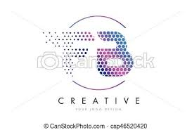 vector illustration of fb f b pink magenta dotted bubble letter