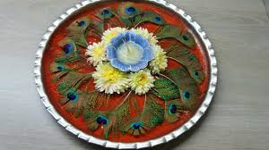 pooja thali decoration peacock feather youtube