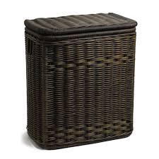 narrow rectangular lidded wicker laundry hamper the basket lady