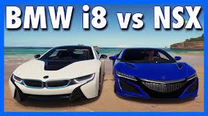 acura vs bmw forza horizon 3 bmw i8 vs acura nsx hybrid showdown