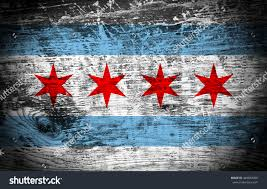 Chicagos Flag Chicago Flag On Wood Texture Background Stock Illustration