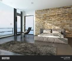 Bedroom Wall Padding 3d Rendering Of Modern Sunny Bedroom Overlooking The Ocean With A