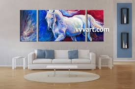 Living Room Paintings 3 Piece Wildlife Blue Horse Oil Paintings Photo Canvas