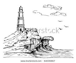 lighthouse vector hand drawn illustrations sea stock vector