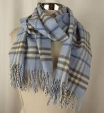 light blue burberry scarf burberry women s light blue gray 100 cashmere plaid fringe detail