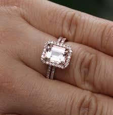 morganite gold engagement ring emerald cut morganite engagement ring wedding ring set in 14