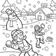 free winter colouring pages snowball fight snowmen